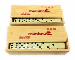 2 SET White Wall Double Six 6 Wood Case Box Thick Dominoes D