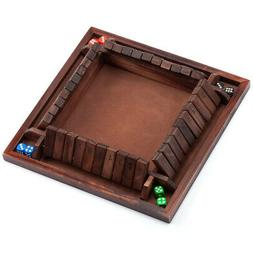 4-Players Shut The Box Board Game w/Dice. Bar Drinking Party