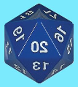 KOPLOW GAMES 55MM OPAQUE BLUE w/ WHITE DIE D20 Jumbo Countdo