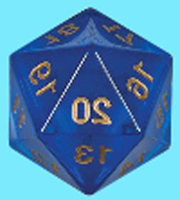 KOPLOW GAMES 55MM TRANSLUCENT BLUE w/ GOLD DIE D20 Countdown