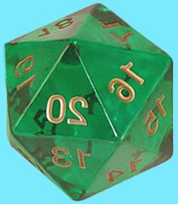 KOPLOW GAMES 55MM TRANSLUCENT EMERALD w/ GOLD DIE D20 Countd
