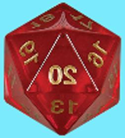 KOPLOW GAMES 55MM TRANSLUCENT RED w/ GOLD DIE D20 Countdown