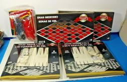 5X ASSORTED CHECKER SETS AND BOARD GAMES CHECKERS CHESS BACK