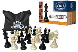 Best Value Staunton tournament chess pieces - black and crea