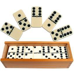 Dominoes Set- 28 Piece Double-Six Ivory Domino Tiles Set, Cl