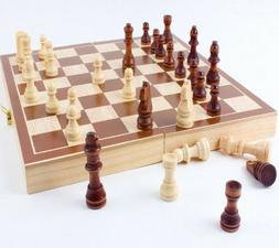 New 30*30cm Standard Game Vintage Wooden Chess Set Foldable
