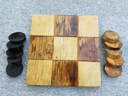 Tic Tac Toe Rustic Wooden Board Games Log Handmade 7 inch X