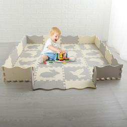 Baby Play Mat with Fence Interlocking Foam Floor Tiles with