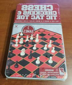 Board Games NEW Cardinal Chess Checkers Tic Tac Toe 3 In 1 S