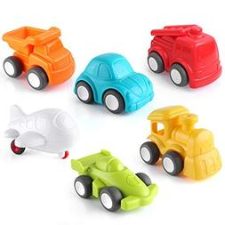 Pedy Car Toys, 6 Pack Toddler Toys Vehicles, Push and Go Car