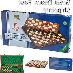 Checkers Set in Folding Wooden Case - 100 Playing Field - 15