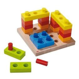 Color Fun Pegging Game - 36 Wooden Pieces - Blocks, Pegs & P