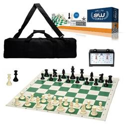 WE Games Complete Deluxe Tournament Chess Set, Black Canvas