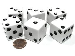 Set of 6 D6 25mm Large Opaque Jumbo Dice - White with Black