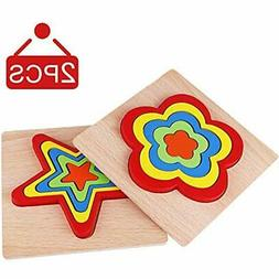 Jigsaw Puzzles Wooden For Toddlers, Stacking Game Learning T