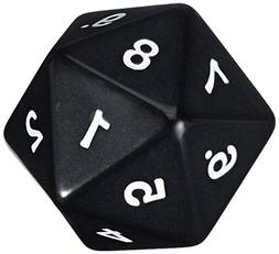 55mm Jumbo D20 Opaque Black with White Numbers by Koplow Gam