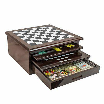 Deluxe Checker Backgammon Drawer 1 Classic Set Mahogany