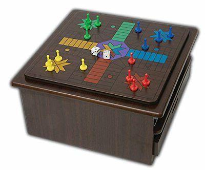 Deluxe Chess Checker Backgammon Drawer 1 Game Set Mahogany