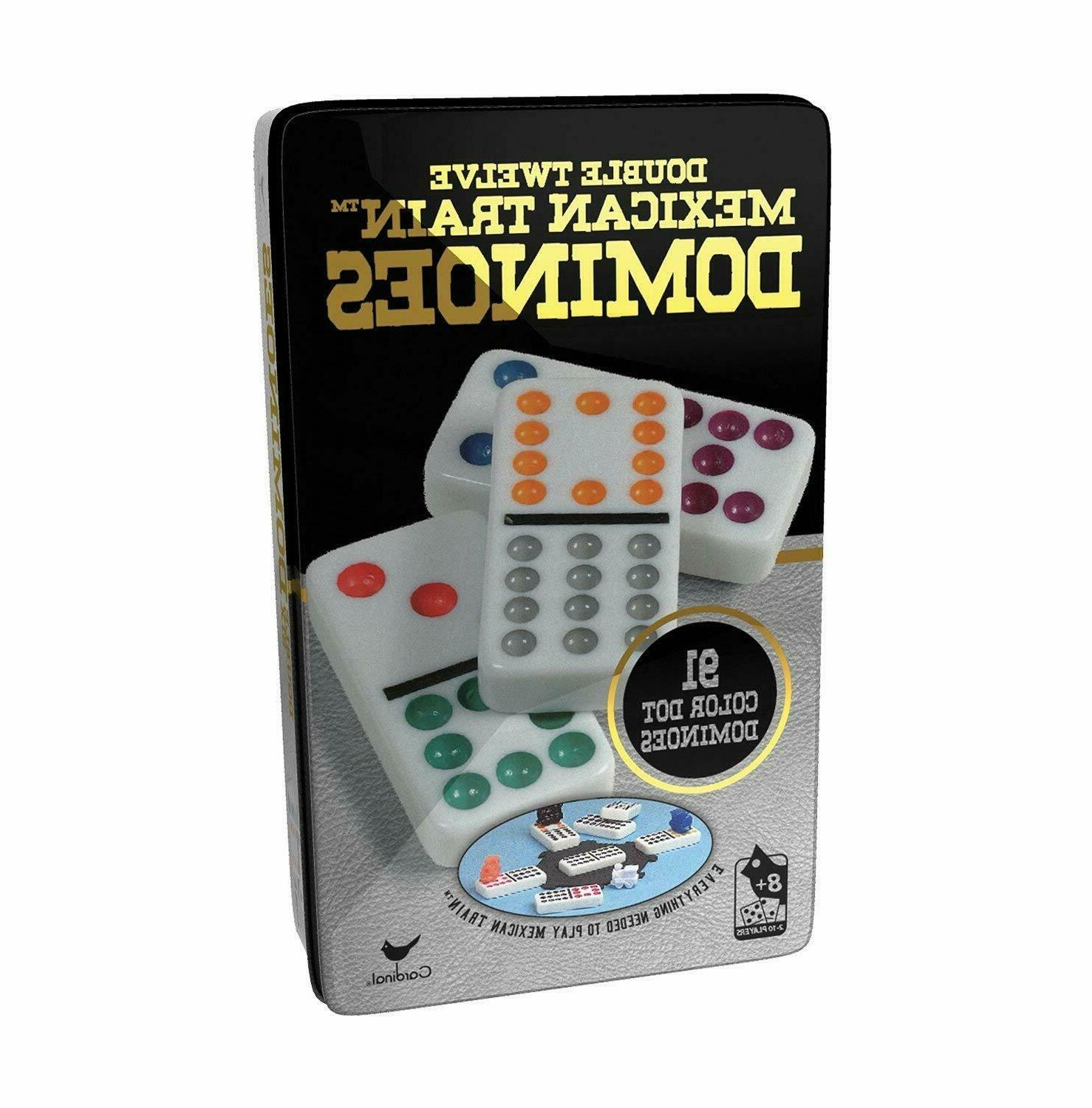Mexican Train 12 Color Dot Dominoes Cardinal Double Tile Gam