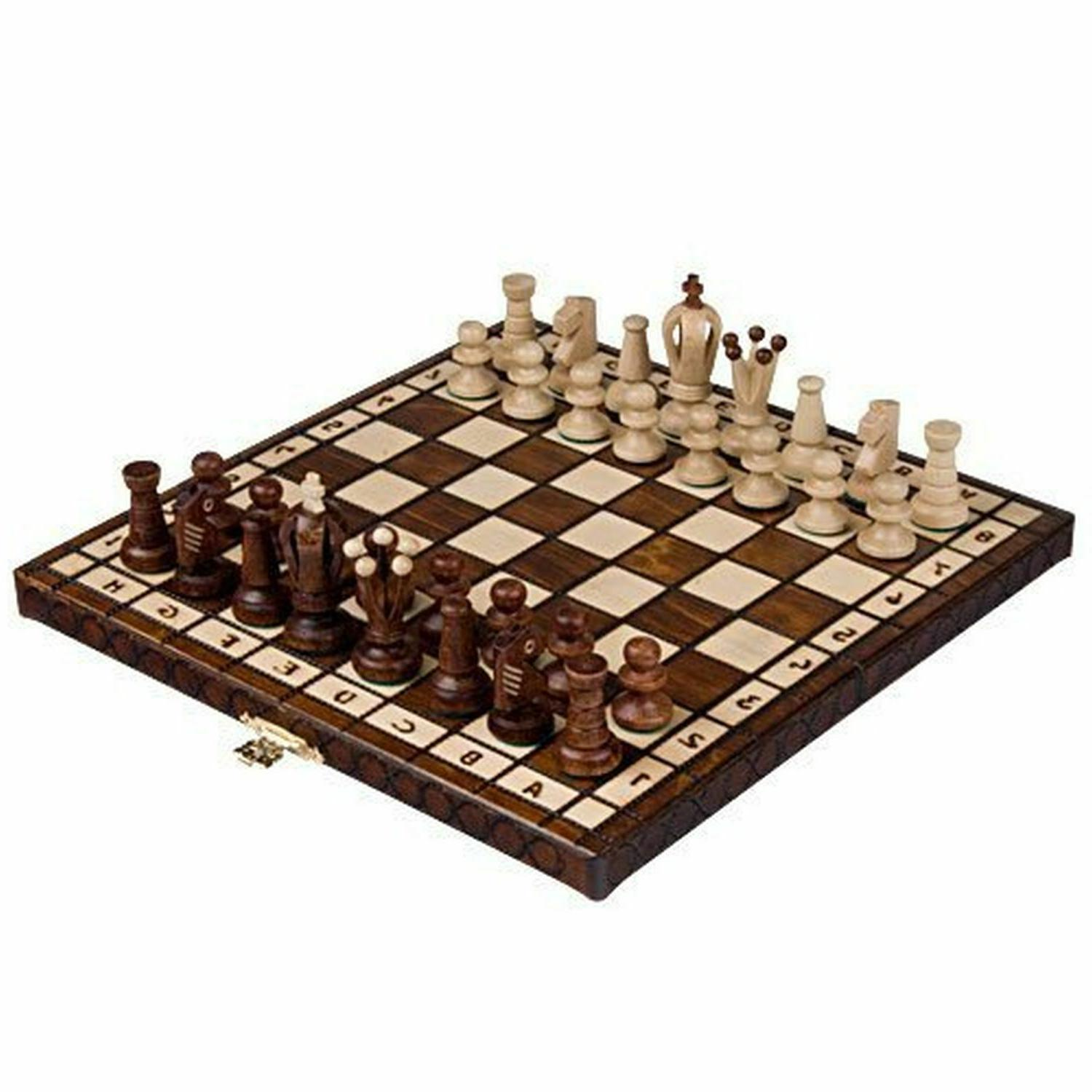 Wooden Chess Board Hand Carved Pieces Folding Vintage