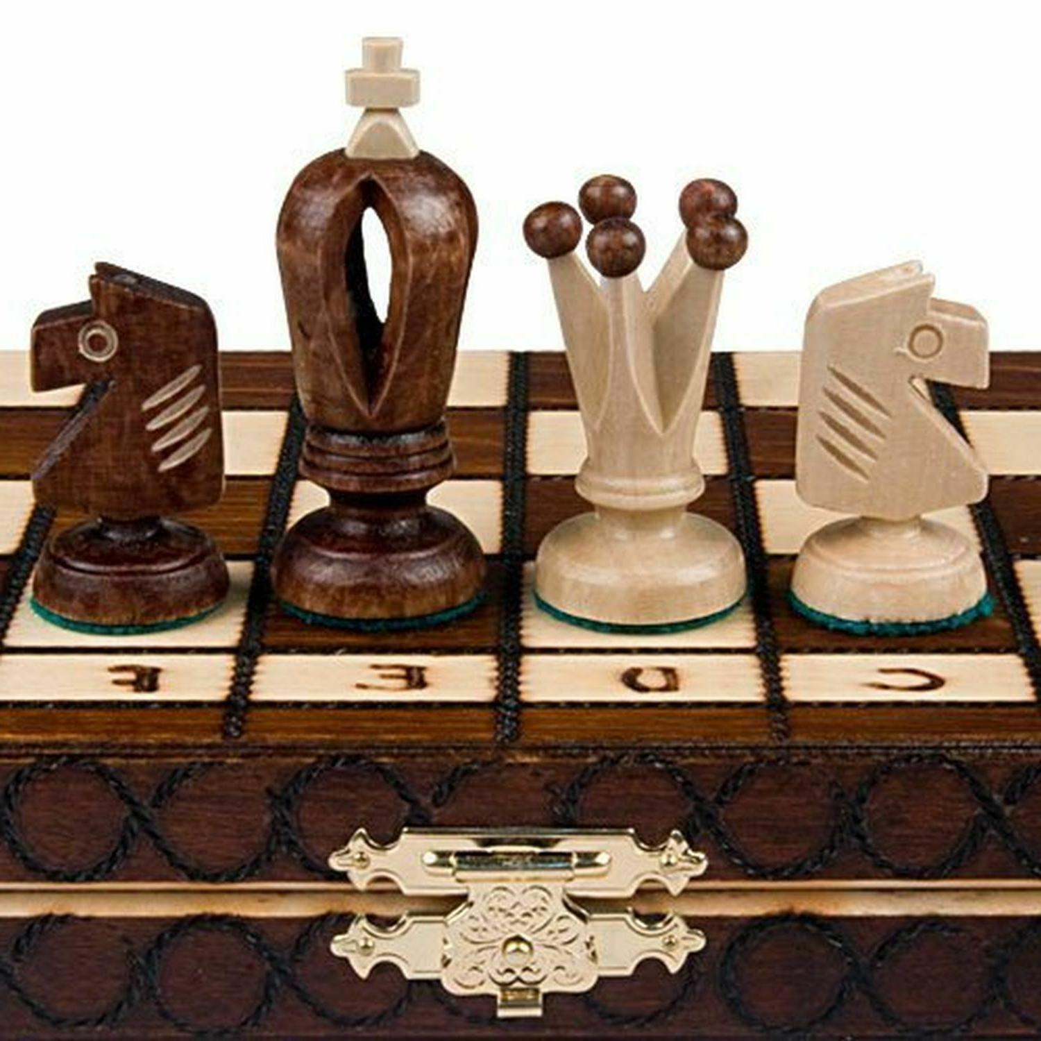 Wooden Chess Set Wood Board Hand Carved Crafted Pieces Made