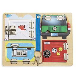 locks latches board wooden educational