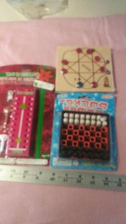 Lot of 3 Peg Board type Travel Games Wooden and plastic.