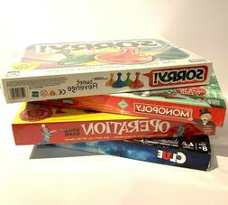 Lot of 4 Board Games - Sorry- Operation- Clue- Monopoly Clas