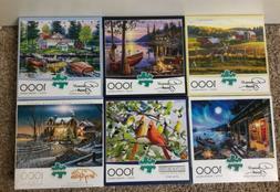 Lot of 6 Buffalo Games 1000 Piece Jigsaw Puzzles Birds Lodge