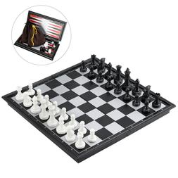Magnetic Chess Checkers Backgammon Set Folding Travel Chess