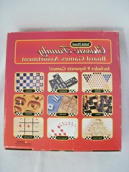 NEW CLASSIC FAMILY BOARD GAMES ASSORTMENT 9 GAMES SOLID WOOD
