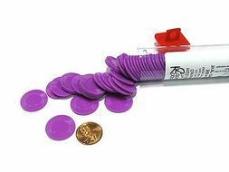 """*NEW Set of 50 Purple Mini Plastic Poker Chips 7/8"""" in Tube"""