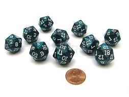 Pack of 10 D20 20mm Koplow Games Pearl Dice - Emerald