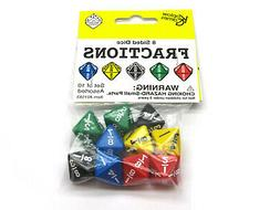 Pack of 10 Math Dice 8-Sided Fraction - 2 Each of Black Gree