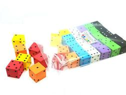 """Pack of 36 D6 Large 2"""" 50mm Spotted 1 to 6 Foam Dice - Assor"""