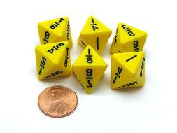 Pack of 6 Math Dice 8-Sided Fraction: 1/8 to 1 - Yellow with