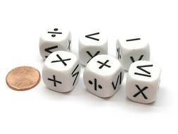 Pack of 6 Math Operator 6 Function  16mm Dice - White with B