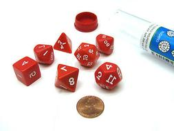 Polyhedral 7-Die Opaque Koplow Games Dice Set - Red with Whi