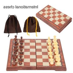 Portable Magnetic Folding Chess Board Game Chessboard Set Gr