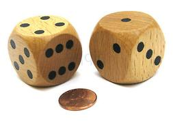 Set of 2 D6 Large Jumbo 30mm Rounded Wood Dice - Wooden with