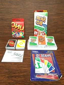 Mattel Skip-Bo, UNO, Fundex Phase 10 Lot of 3 Classic Fun Fa