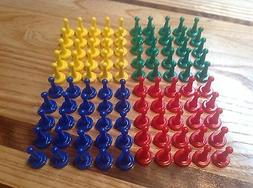 Sorry Type Board Game Tokens Lot of 100 ~ 25 Yellow, 25 Red,